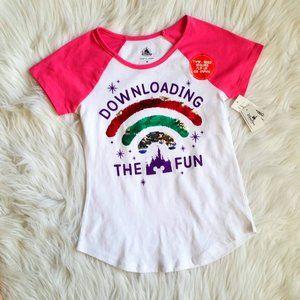 Disney Parks Girls Flip Sequin Rainbow Shirt Sz M